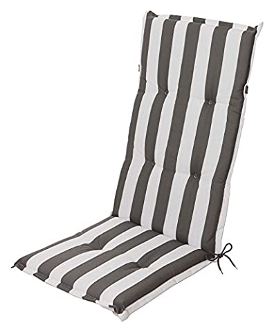 Garden chair cushion, seat, pad, cushion for high-backed chair block stripes in anthracite / white