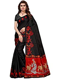 Ishin Women's Polysilk Black & Red Printed Saree/Sari With Blouse Piece