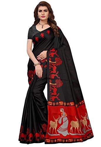 Ishin Women's Polysilk Black & Red Printed Saree/Sari With Blouse Piece