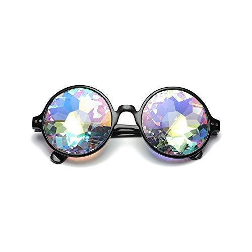 WJFDSGYG Runde Kaleidoskop Brille Rave Festival Männer Frauen Holographische Kaleidoskop Sonnenbrille