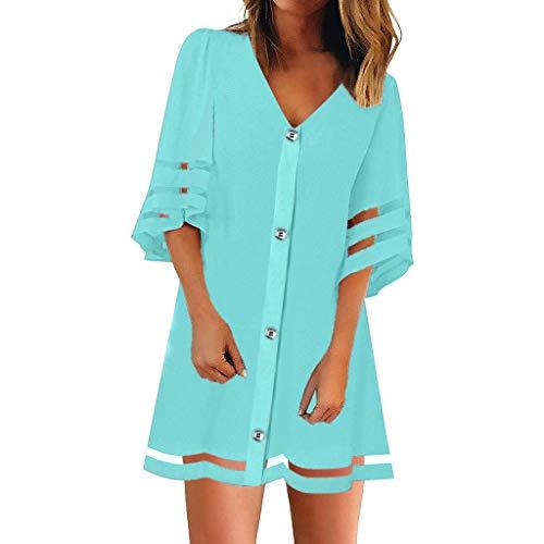 Alwayswin Damen Sommerkleider Frauen Lose Minikleid Sexy Freizeit Strandkleid V-Ausschnitt Knöpfen Kurzarm Kleider T-Shirt Kleid Mesh Panel Bluse Loose Top Hemdkleid Tunika Kleid -