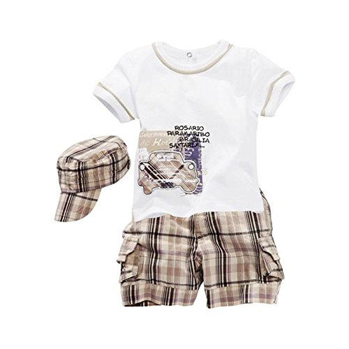 BOBORA Toddler Baby Boy T-shirt Top+Hat+ Plaid Pants Shorts Clothes Outfit Set