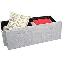 Kendan Tilton - banco largo plegable de tela con almacenamiento, puf otomano, arcón para juguetes, reposapiés, gris claro