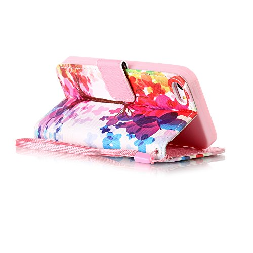 Custodia iphone 7, iphone 7 Cover, iphone 7 Flip Cover, Custodia IPHONE 7 Cover, Cozy Hut Retro Modello di disegno del fumetto Design Con Cinturino da Polso Magnetico Snap-on Book style Internamente S alberi colorati