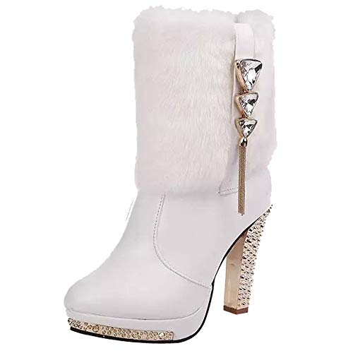 OYSOHE Damen Wedge Strass Leder Mitte Stiefel Warm Bleibenn High Heels Schuh(Weiß,37.5 EU)