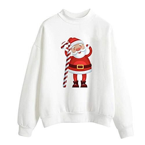 Geili Weihnachts Pullover Damen Mädchen Weihnachtsmann Gedruckt Santa Sweatshirt Christmas Sweater Frauen Rundhals Langarm Weihnachten Pulli Bluse Tshirt Tops Festlich Kostüm M-2XL (Lila Kostüm Santa)