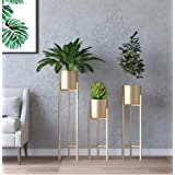 Crafter Metal Indoor Plant Stand With Planter Pot, Gold, 3 Pieces