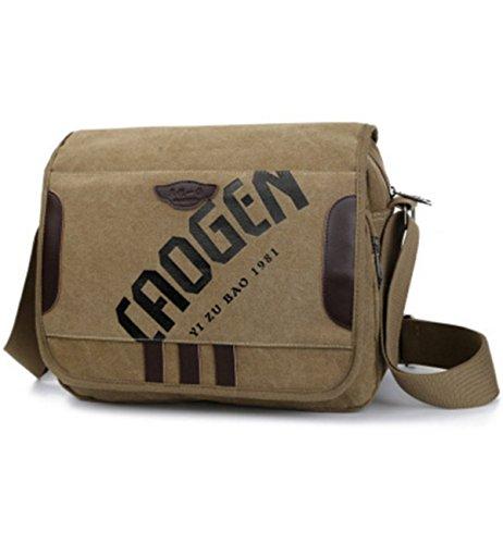 YOJAP Unisex Vintage Canvas Umhängetasche Schultertasche Messenger Bag für Reise Sport Freizeit Khaki