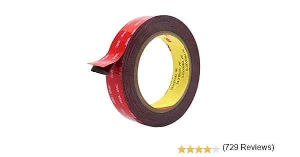 ruban de montage vhb de 3m tr/ès r/ésistant longueur de 16 pieds ruban de mousse imperm/éable HitLights Ruban adh/ésif double face largeur de 0,94 pouce pour voiture Rouge