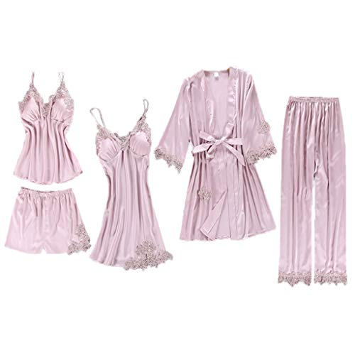 Watermk 5Pcs Suit Pyjamas Set Damen Nachahmung Seide bestickte Blumenspitze Applique Trim einfarbig Nachtwäsche Push Up aufgefülltes Nachthemd - Day Valentines Pyjama-hose