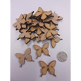 PixieBitz 30mm Ornate Butterfly Embellishments - Blank Wooden MDF Shapes for Crafts - Pack of 30