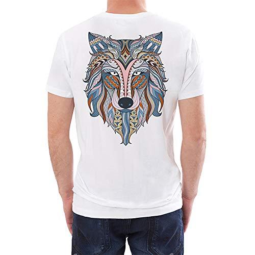 Fenverk Herren Logo Shirt Assorted Langarm- Kurzarm Casual Top Rundhals T-Shirts T-Shirt Kurzarmshirt Print Basic O-Neck Tee Einfarbige Mit Rundhalsausschnitt(Weiß 4,M)