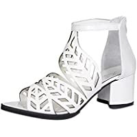 Squarex vintage d'été Sandales Chaussures Femme plate-forme Wedge Chaussures à talons hauts Bohemian Adult 4.5 UK/ Foot Length:24-24.5cm blanc