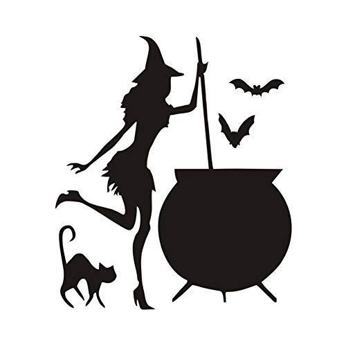 leber, wandaufkleber hexe großen pot trank bat schwarze katze vinyl Diy wohnzimmer kunst aufkleber dekoration zubehör 43X37Cm ()