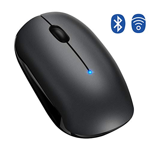 TOPELEK Bluetooth Maus, Kabellose Maus, 4.0 & 2.4G Wireless Laptop Maus mit Einstelleable, Funkmaus mit 2400 DPI & USB Nano Empfänger Für PC Laptop iMac MacBook Microsoft Pro, Office Home