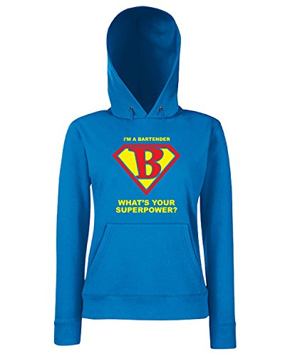 T-Shirtshock - Sweats a capuche Femme BEER0176 Bartender Superhero Bleu Royal