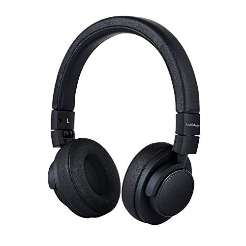 ArchMage Premium Faltbar On-Ear Kopfhörer für Smartphone iPhone iPad iPod Mp3 und Android Geräte, im 3D Faltbaren Design Mini-Headset mit Mikrofon und Fernbedienung-Schwarz