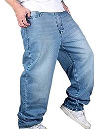 Pantalones De Mezclilla Hip Hop De Hombre Hellbalu Tamaños Cómodos Pantalones De Mezclilla Estilo Holgado Hugh