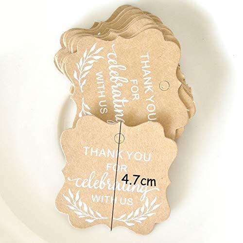 50PCS Kraft, multifunzionale, etichette per regali Thank You tag per pacchetto regalo, da forno tag, message leave, Wishing carta Taglia libera C