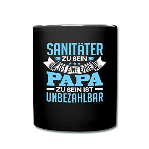 Spreadshirt Sanitäter Und Papa Sein Spruch Tasse einfarbig, Schwarz