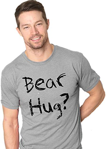Crazy Dog Tshirts Mens Grizzly Bear T Shirt Funny Bear Hug Shirt Humorous T Shirt For Men Novelty Tees (Grey) S - Herren - S (T-shirt Funny Tee Adult)