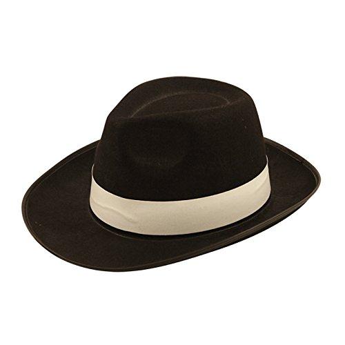 Henbrandt Al Capone Gangster Hut Erwachsene Hut Schwarz Mit Weißer (Hut Erwachsene Capone)