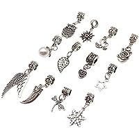 Kesheng Conjunto de 12pcs Dreadlock Beads Anillos Abalorios de Rastas con  Colgantes Accesorio para Pelo de 50978a58325e