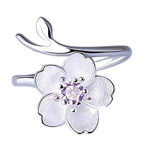 Kostüm Teen Kreativ - MSYOU Ring Kirschblütenring für Damen, zum Öffnen, lila Strass-Steine, einfaches kreatives Geschenk für Geburtstagsparty