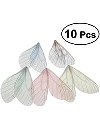 OULII 10 unids Hermosa Alas de Mariposa Encantos para Artesanías de Joyería DIY Hacer Pendientes Collar Pinza de Pelo (Color Al Azar)