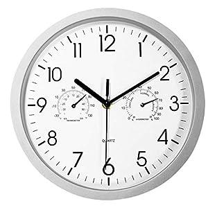 Foxtop 10 Zoll Badezimmer Wanduhr mit Thermometer und Hygrometer-Display, Nicht tickende Lautlos Mechanismen, Modernes Gesicht für Garten/Küche/draußen, batteriebetrieben, Silber