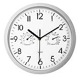Foxtop Orologio da Parete per Bagno da 25 cm con termometro e igrometro, meccanismo Silenzioso AntiGraffio, quadrante Moderno per Giardino/Cucina/Orologio da Esterno, a Batteria, Argento