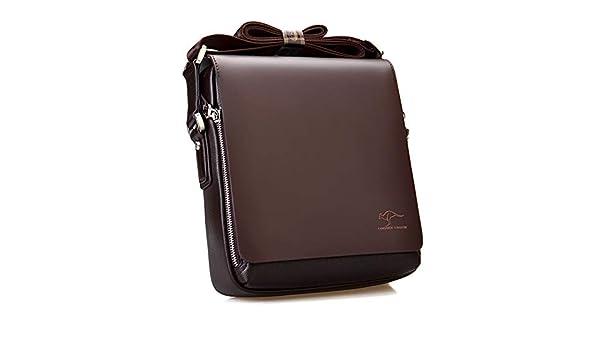 Leoie Men Zipper Shoulder Bag Business Casual PU Briefcase 4365 black transverse