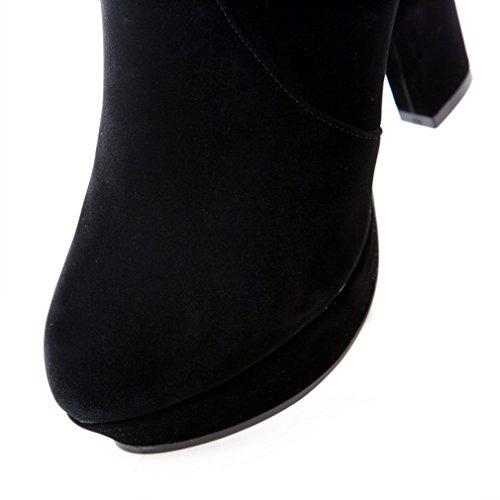 ENMAYER Frauen Nubuck Leder High Heels Over-the-Knie Reißverschluss Spitze Plattform Block Heels Winter Stiefel Schwarz
