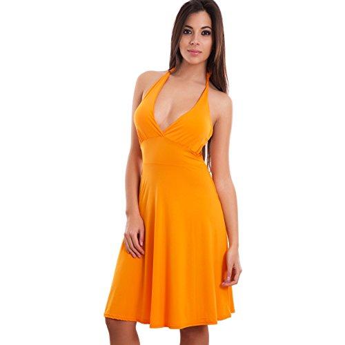 Toocool - Miniabito donna vestito ballo danza copricostume scollo v pin up nuovo CC-938 Arancione