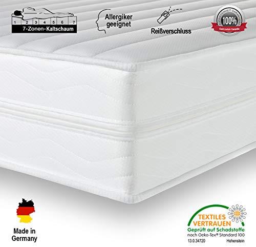AquaFlex® 16 Wellness Kaltschaummatratze - 7 Zonen Matratze - Härtegrad H4 - ÖkoTex Rollmatratze (160 x 200 cm, H4)