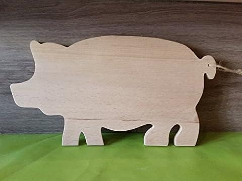 Planche à découper cochon en bois massif.
