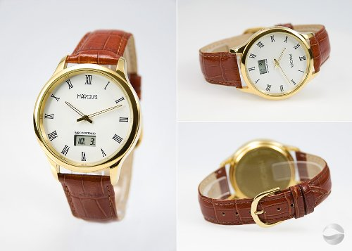 Elegante Herren Funk Armbanduhr (JUNGHANS-WERK) Edelstahl Leder Gold 964.4702