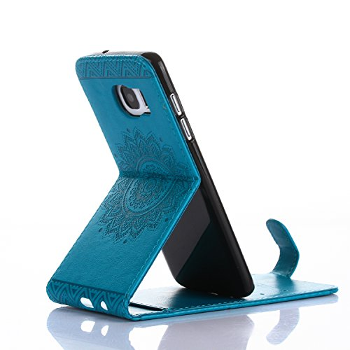 Samsung Galaxy S7 Edge Hülle Leder Tasche Flip Cover Galaxy S7 Edge Wallet Case Alfort Stilvoll Handycover Golden Mandala Blumen Muster PU Ledercase Brieftasche Handyhülle für Samsung Galaxy S7 Edge S Blau