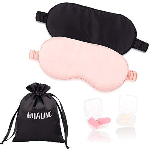 Whaline Schlafmaske Seide Augenmaske, Angenehme Schlafmaske MIT Ohrstöpsel und Aufbewahrungstasche für Frauen und Herren, Reisen, im Flug, zu Hause( Rosa und Schwarz) -