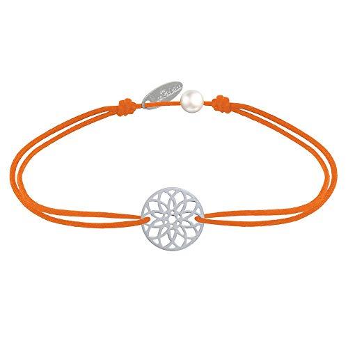 Joyas Les Poulettes - Pulsera de Enlace Medalla de Plata Mandala Semilla de Vida - Naranja