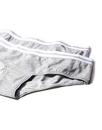 Iris & Lilly Damen Hipster Sporty Cotton 2er Pack, Grau (Grey/White)