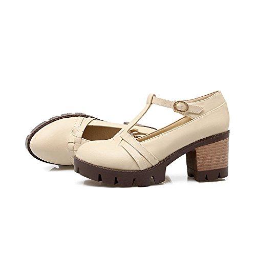 AllhqFashion Femme Boucle Rond à Talon Correct Couleur Unie Pu Cuir Chaussures Légeres Beige