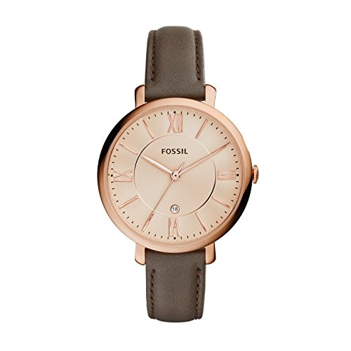 Fossil Jacqueline Grey Leather Watch – Analogue Women's Quartz Wrist Watch with Date Function in Gift Box - Rose Gold Stainless Steel Case and Dial Best Price and Cheapest