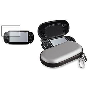 Silber EVA Hard Tasche+LCD Display Folie f�r Sony Playstation PS Vita PSV Neu