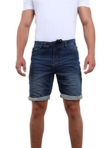 riverso Herren Sweat Jeans Shorts 'FRED' Sommer Bermuda Sweathose - schwarz - grau - blau - dunkelblau, Gr??e:W 36, Farbe:Dark Blue Denim (19400)