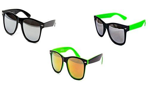3 er Set Sonnenbrille Partybrille Festival Sunglass Piloten Brille Schwarz Grün Feuer Spiegel D274