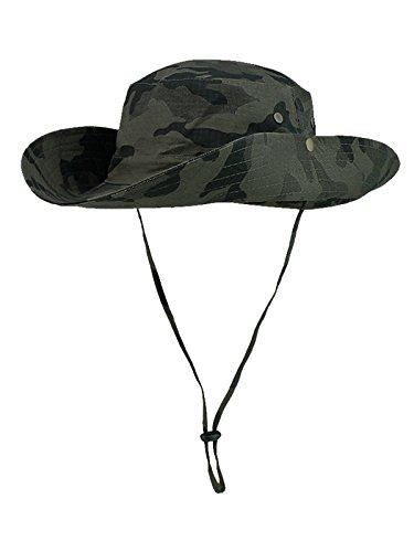 Outfly Damen Herren Outdoor Sonnenschutz Bucket Hut Fischerhut Baumwolle Two Way to Wear für Kopfumfang 55-62 cm Armee Grün Camouflage -