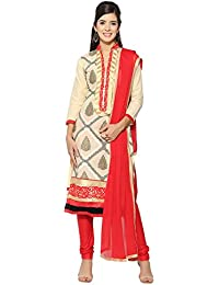 Jheenu Beige Cotton Unstitched Dress Material(LSJULLI01)