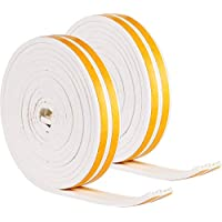 Weather Stripping Set Self Adhesive Strips Draught Excluder Tape Weather Strips Seal Tapes for Cars Doors Windows Sliding Doors (33 Feet, White)