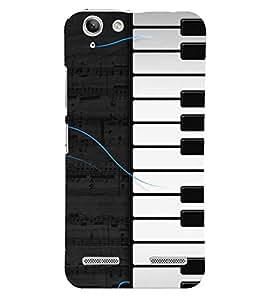 Fiobs Designer Back Case Cover for Lenovo Vibe K5 Plus :: Lenovo Vibe K5 Plus A6020a46 :: Lenovo Vibe K5+ (Piano Keys Keyboard Casio Black White)